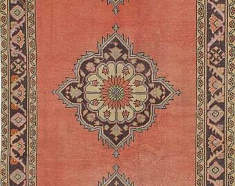"""Vintage Turkish Runner Rug, Vintage Anatolian Turkish Rug, Turkish Vintage Rug, Copper Wool Rug, Vintage Geometric 1960's Rug, 4'6"""" x 10'4"""""""