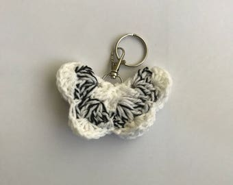 White and Black Crochet Butterfly Key Ring/Planner or Purse Charm