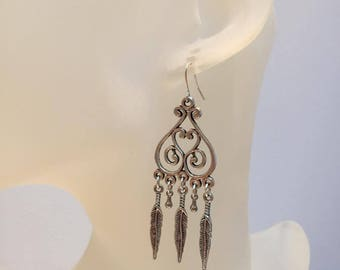 Earrings tassel feather silver