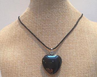 Cord stone hematite Heart Necklace