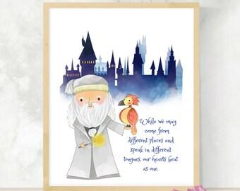 Wizarding World Quote | HP Nursery Decor | Baby Shower Gift | HP Fandom | Headmaster Phoenix | Gift for Geeks | Little Wizard | HP Print