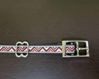 "3/4"" Red Jacquard Dog Collar"