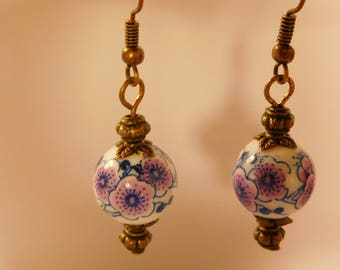 Earrings retro vintage ceramic porcelain bead