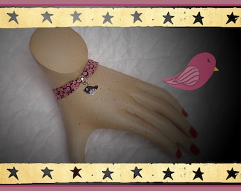 liberty bracelet Brown background and dusty rose and bird pendant