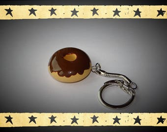 Donuts dipped in chocolate bracelet mounted on keychains