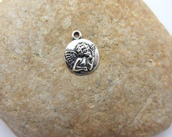 Charm, silver metal Angel pendant