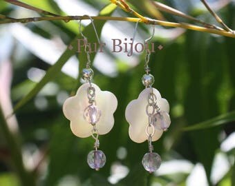 Earrings 925 Silver - Amethyst faceted and mother of Pearl