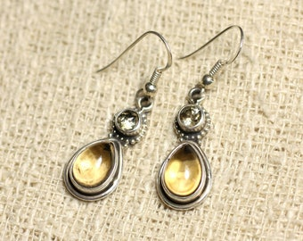 BO206 - earrings 925 sterling silver and 23mm Citrine stone