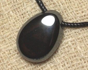 Gemstone - 25mm Teardrop Hematite pendant necklace