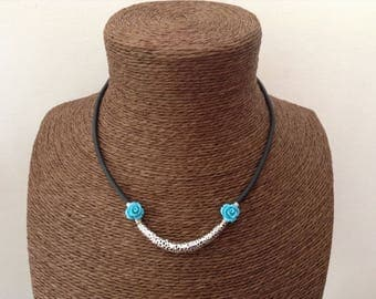 Turquoise roses black cord necklace