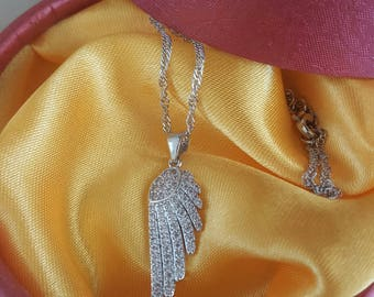 Chain and pendant in 925 sterling silver angel wing and rhinestone