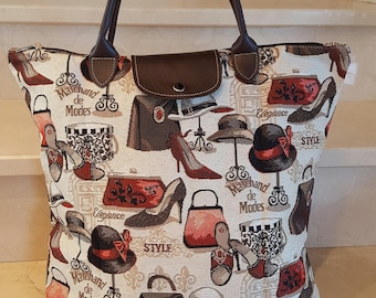 "tote bag foldable collection ""Marchand de fashions"" 38 x 40 cm"