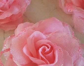 set of 4 appliques rose flowers with glitter 8 cm