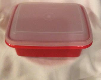 Vintage Tupperware orange ice cream size container, cook gift, vintage kitchen gift, 4 Quart Tupperware