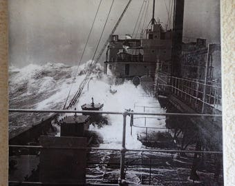 Old photo - full sea ship in storm early 20th - print on canvas
