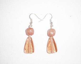 Earring, pink, beige