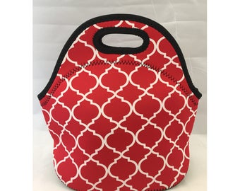 Lunch Bag | Kids Lunch Bag | Insulated Lunch Tote | Lunch Box | Office lunch bag | Holiday Gift | Teacher Gift Nurse Gift | Red Moroccan