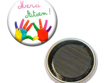 Magnet Badge 38 mm - thank you for pre-school kindergarten painting child gift