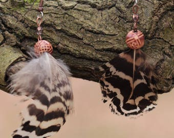 Earrings feathers of Peacock, wooden bead and faceted beads