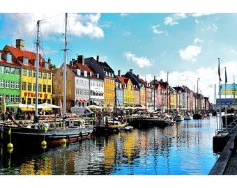 Nyhavn District In Denmark - Scenic Landscape Print - Seaside Photo Print - Landscape Poster
