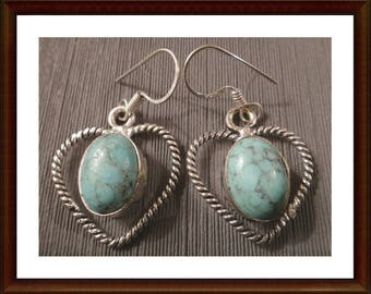 Earrings hearts Turquoise and Silver 925 - 40mm - artisan