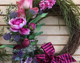 On Sale -- Hot Pink and Black Ribbon Wreath
