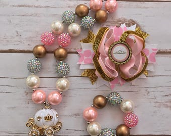 Princess necklace and bow set