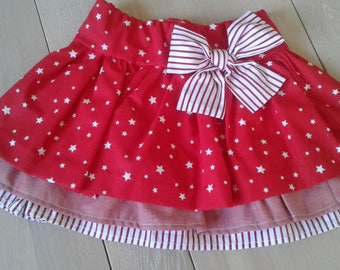 Skirt with Ruffles - cotton: white/red/stars and stripes - 3/4 years