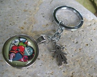 Tangy green heart keychain