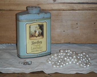 Old blue talc box for decoration shabby chic