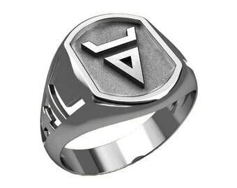 Veles Weles Volos Slavic Symbol Men Ring Sterling Solid Silver 925 SKU30242