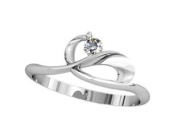 Woman Ring with Single Round Cut Gem Sterling Silver 925 SKU kb76
