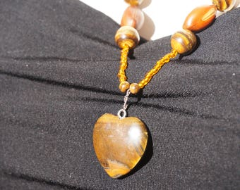 Necklace with Tiger eye and sea polka dots