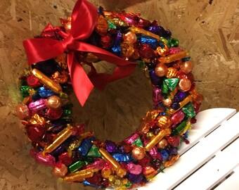 Large Quality Street Christmas chocolate wreath