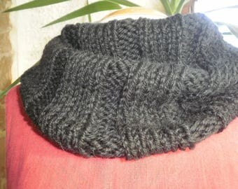 Mixed Snood, black Choker, knitted with wool and alpaca