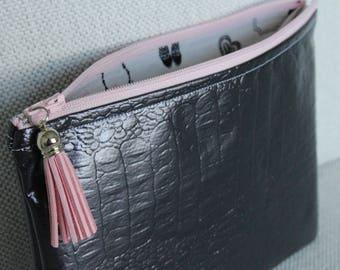 Reptile vinyl cosmetic case / pouch