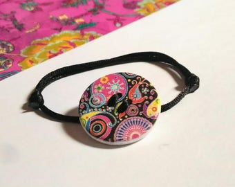 button bracelet psychedelic black satin cord