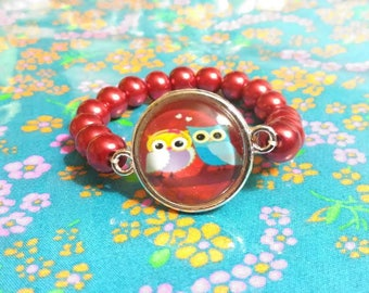 4-6 years old girl bracelet glass beads and cabochon owls in love