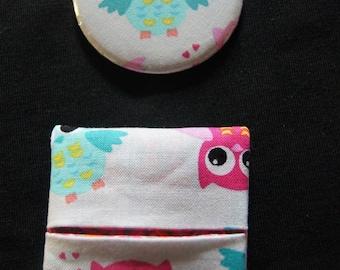 Miroir de poche motif chouettes / hiboux et sa pochette assortie
