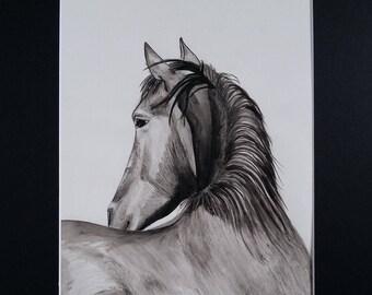 India ink, original horse