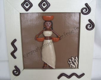 Table decorative African woman in shades of beige and chocolate