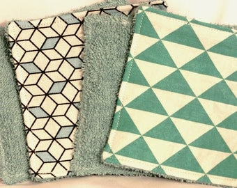 Set of 2 wipes 10cm in color blue and green