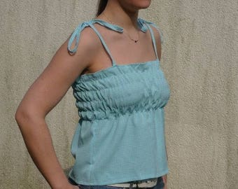 Blue and white straps top for woman - medium size