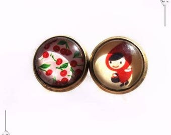 Little Riding Hood red cherry glass Cabochon studs earrings