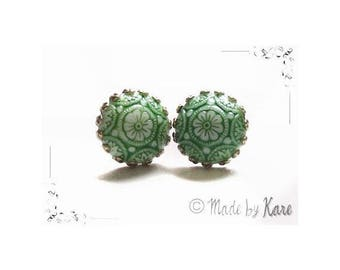 Romantic green - ceramic Vintage Cabochon studs earrings