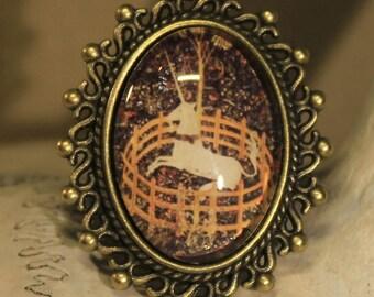 "Adjustable ring, ""captive Unicorn"" medieval, renaissance, retro, fantasy"