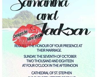 Printable beach starfish wedding menu wedding invitations suite wedding invites wedding