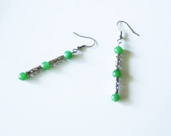Earrings with Green Aventurine gemstones and silver plated tubes