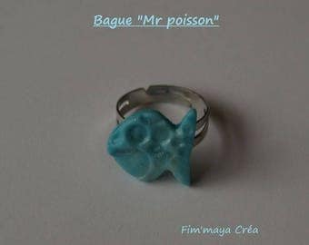 "Ring ""mr fish"" Turquoise bubble effect"