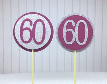 "60th Birthday Cupcake Toppers - Silver Glitter & Maroon ""60"" - Set of 12 - Elegant Cake Cupcake Age Topper Picks Party Decorations"